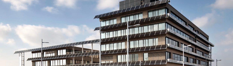 Foto: Technologiezentrum von außen mit vielen Solarzellen