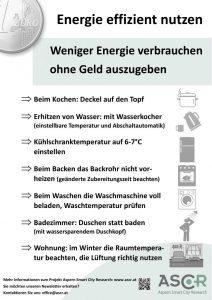 Plakat: Weniger Energie verbrauchen
